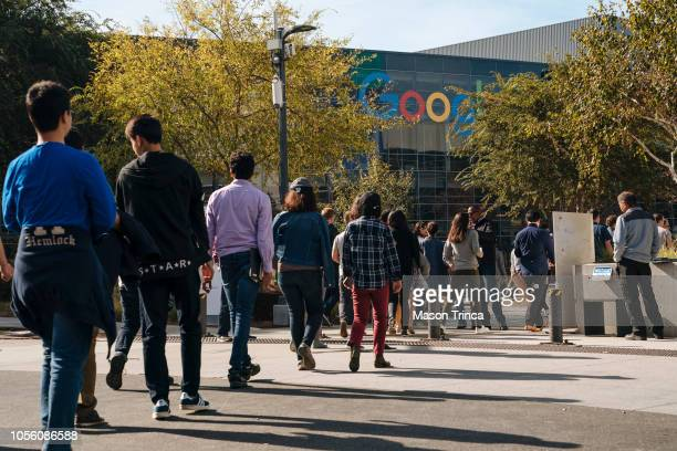 Google employees walk off the job to protest the company's handling of sexual misconduct claims on November 1 in Mountain View California Employees...