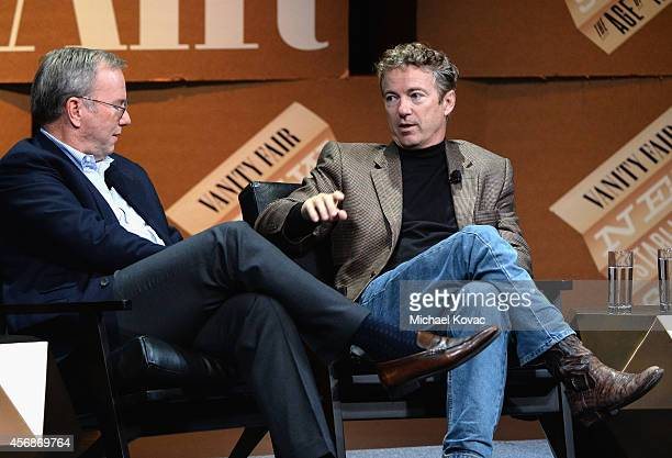 Google Executive Chairman Eric Schmidt and US Senator of Kentucky Rand Paul speak onstage during Why Can't Tech Save Politics at the Vanity Fair New...