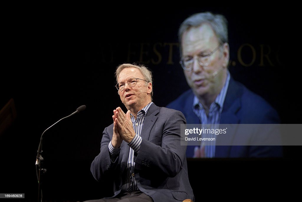 Google Executive Chairman Eric Schmidt attends The Telegraph Hay festival at Dairy Meadows on May 25, 2013 in Hay-on-Wye, Wales.