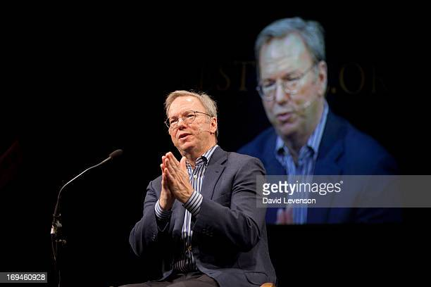 Google Executive Chairman Eric Schmidt attends The Telegraph Hay festival at Dairy Meadows on May 25 2013 in HayonWye Wales