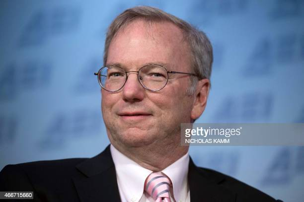 Google executive chairman Eric Schmidt delivers speaks on technology on March 18 2015 at the American Enterprise Institute in Washington DC AFP...