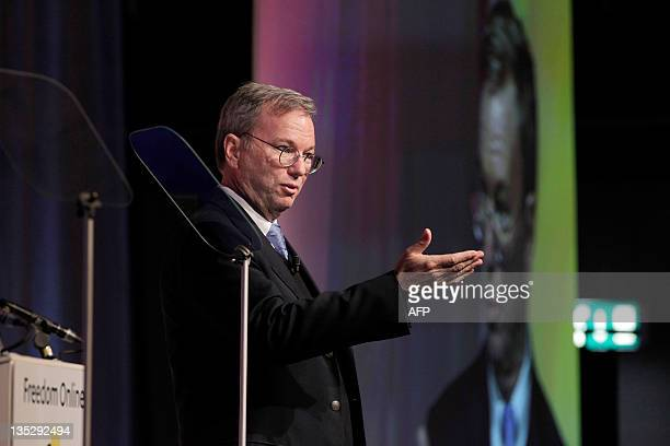Google Executive Chairman Eric Schmidt speaks at the Conference on Internet Freedom in The Hague on December 8 2011 US Secretary of State Hillary...