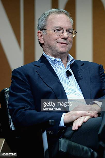 Google Executive Chairman Eric Schmidt speaks onstage during Why Can't Tech Save Politics at the Vanity Fair New Establishment Summit at Yerba Buena...