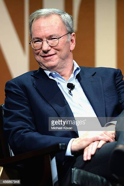 Google Executive Chairman Eric Schmidt speaks onstage during 'Why Can't Tech Save Politics' at the Vanity Fair New Establishment Summit at Yerba...