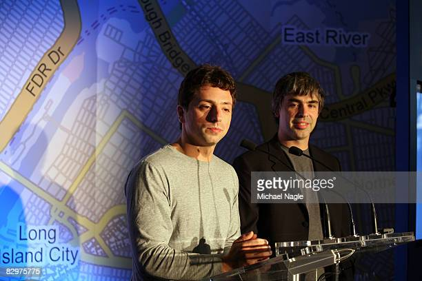 Google founders Larry Page and Sergey Brin speak at a press conference announcing Google's launch of a new transit mapping feature of Google Maps...