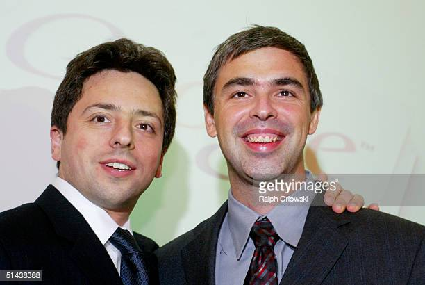Google founders Sergey Brin and Larry Page smile prior to a news conference during the opening of the Frankfurt bookfair on October 7, 2004 in...