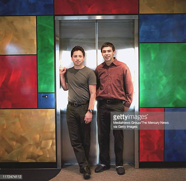 Google founders Sergey Brin left and Larry Page right are shown at the companies headquarters in Mountaint View Calif Thursday March 13 2003 The...