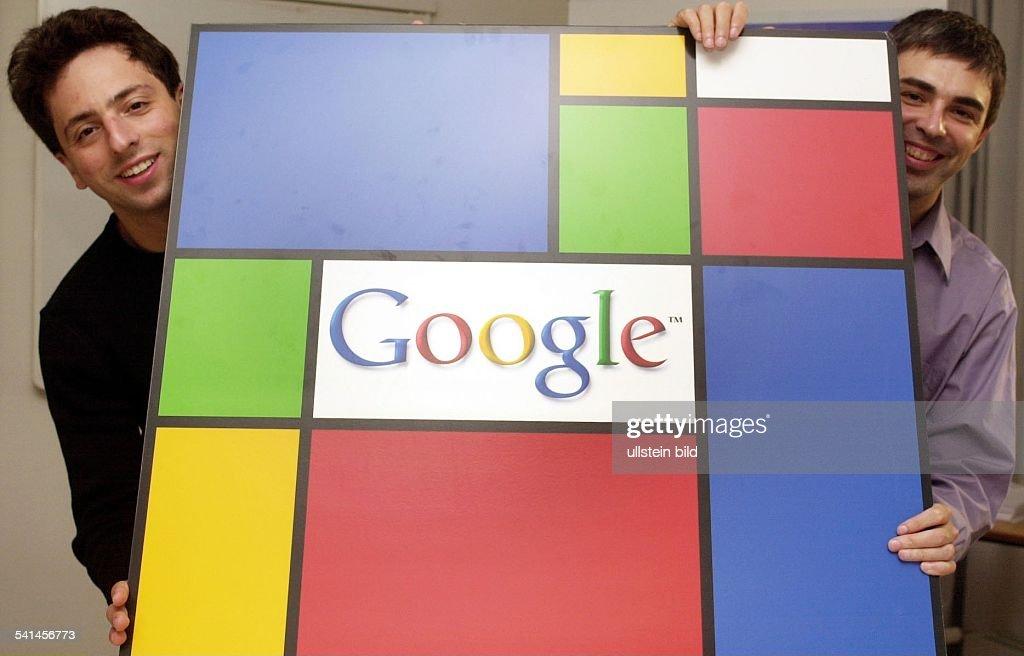 Brin, Sergey - Google-Gründer - mit seinem Partner Larry Page (r) : News Photo