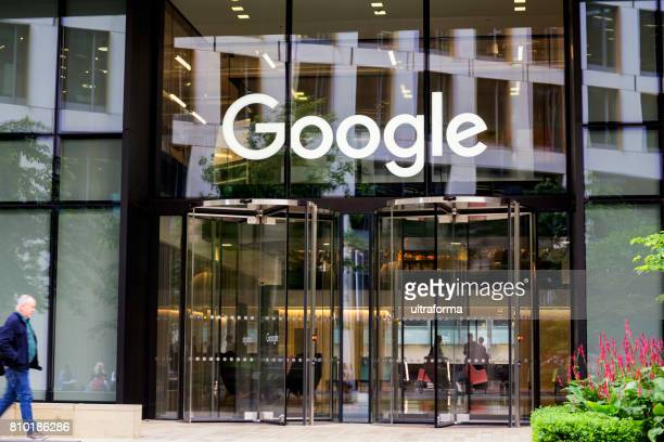 Google headquarters with brand name above entrance in London