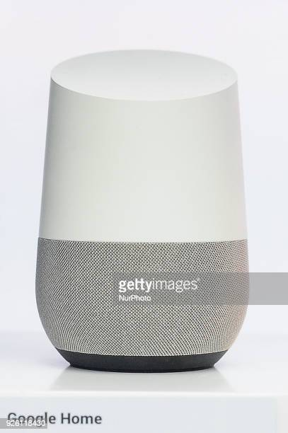Google Home assistant device showed at Google pavilion during the Mobile World Congress day 4 on March 1 2018 in Barcelona Spain