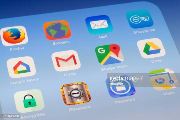 Google ホーム、Gmail、Google マップ、iPad の画面に他のアプリ