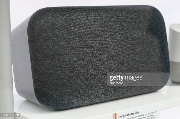 Google Home Max assistant device showed at Google pavilion during the Mobile World Congress day 4 on March 1 2018 in Barcelona Spain