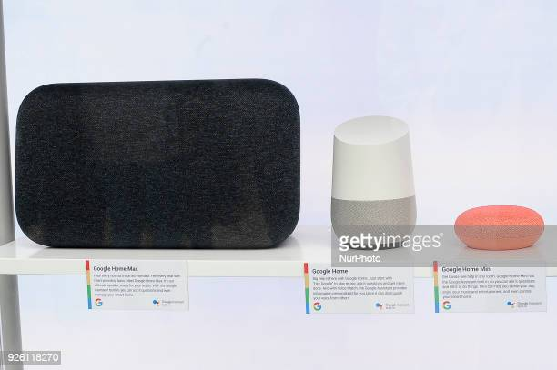 Google Home Max Google Home and Google Mini assistant devices showed at Google pavilion during the Mobile World Congress day 4 on March 1 2018 in...