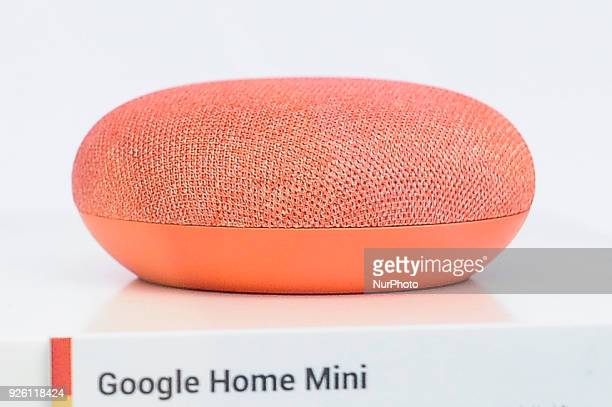 Google Home Mini assistant device showed at Google pavilion during the Mobile World Congress day 4 on March 1 2018 in Barcelona Spain