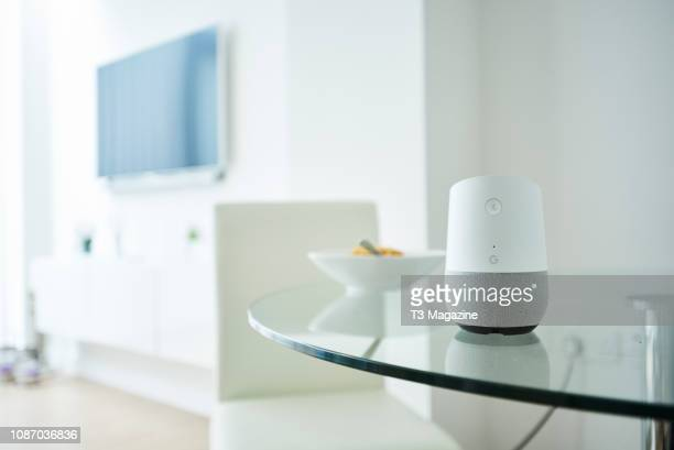 Google Home smart speaker photographed on a dining table, taken on March 6, 2017.