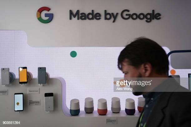Google Home units and Google phones are on display at the Google booth during CES 2018 at the Las Vegas Convention Center on January 10 2018 in Las...
