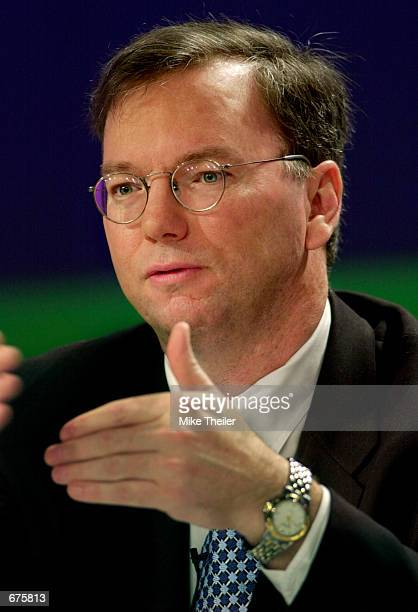Google Inc Chairman and CEO Eric Schmidt speaks during a roundtable discussion at the Global Tech Summit December 5 2001 in Washington DC The summit...