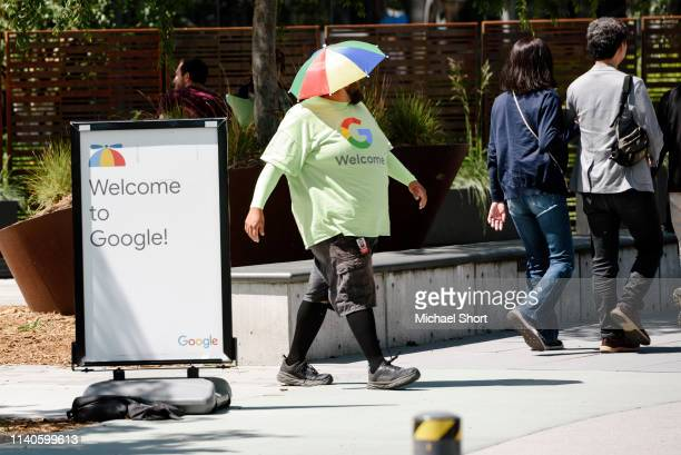 Google Inc. Employee wears a colorful hat on the Google campus as Google workers inside hold a sit-in to protest sexual harassment at the company, on...
