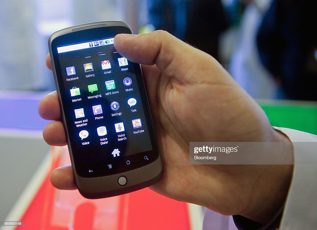 A Google Inc. Nexus One touch-screen mobile phone is displayed for the media at Google headquarters in Mountain View, California, U.S., on Tuesday, Jan. 5, 2010. Google Inc., aiming to take on Apple Inc.'s iPhone and defend its dominance in Internet search, introduced a touch-screen mobile phone called Nexus One that runs on its own Android operating system. Photographer: Kim White/Bloomberg via Getty Images