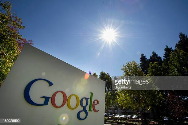Google Inc signage is displayed in front of the company's headquarters in Mountain View California US on Friday Sept 27 2013 Google is celebrating...