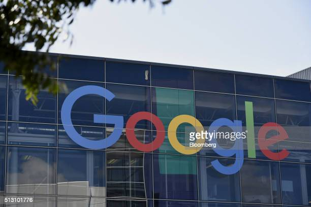 Google Inc signage is displayed on an office building inside the Googleplex headquarters in Mountain View California US on Thursday Feb 18 2016...