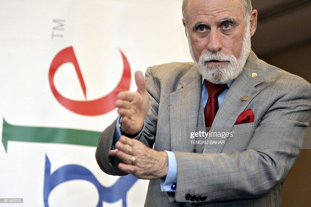Google Inc. vice president Vinton Cerf, : News Photo