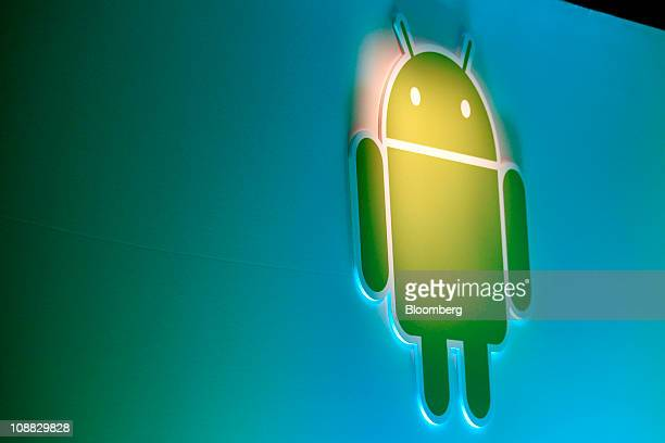 Google Inc's Android logo is displayed during a news conference at company headquarters in Mountain View California US on Wednesday Feb 2 2011 Google...