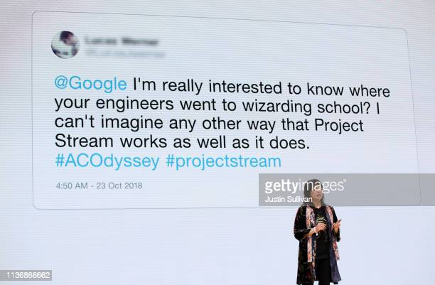 Google lead prototyper Erin HoffmanJohn speaks during the GDC Game Developers Conference on March 19 2019 in San Francisco California Google...