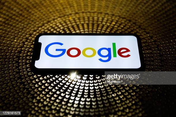 Google logo displayed on a phone screen is seen in this illustration photo taken on October 18, 2020.