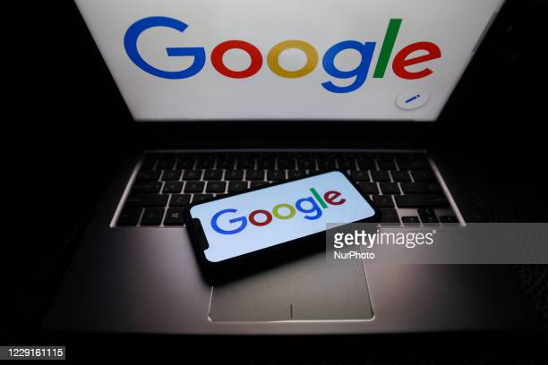Google logo displayed on phone and laptop screens are seen in this illustration photo taken on October 18, 2020.