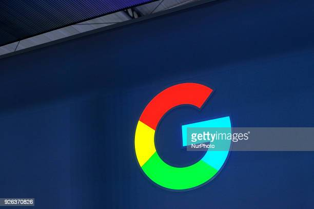 Google logo during the Mobile World Congress day 4 on March 1 2018 in Barcelona Spain