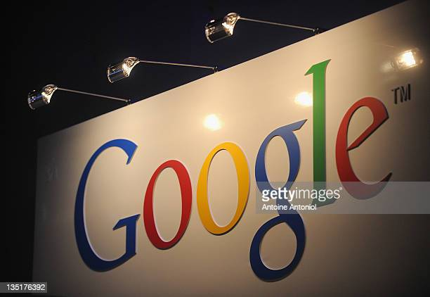 Google logo is displayed at LeWeb Paris 2011 at Le 104 on December 7 2011 in Paris France Since beginning in 2008 LeWeb Paris 2011 is the largest...