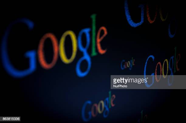 Google logos are seen on a computer screen in this photo illustration on October 20 2017
