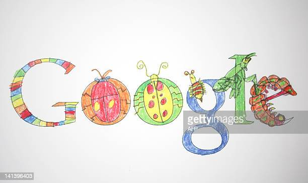 Google logos created by children are displayed at the Google headquarters in Mountain View California on April 7 2011 AFP PHOTO/Kimihiro Hoshino