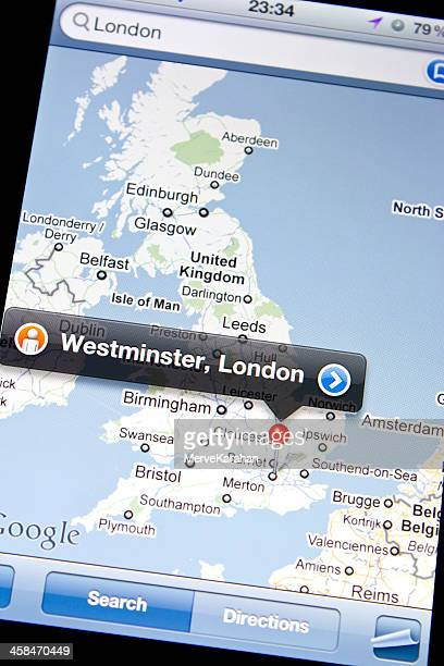 google map on iphone 4 - google stock photos and pictures