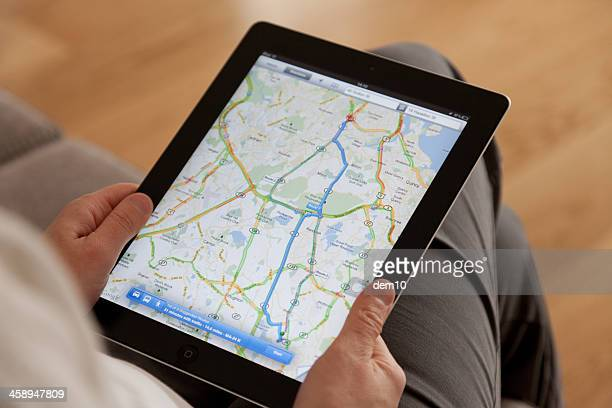 google maps on a apple ipad screen - google stock photos and pictures