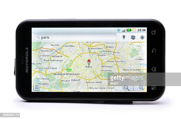 google maps - carte france photos et images de collection
