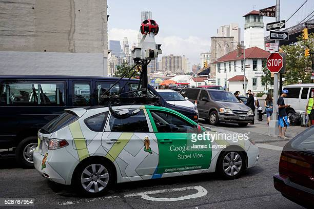 A Google Maps Street View car going through the DUMBO neighborhood in Brooklyn NY