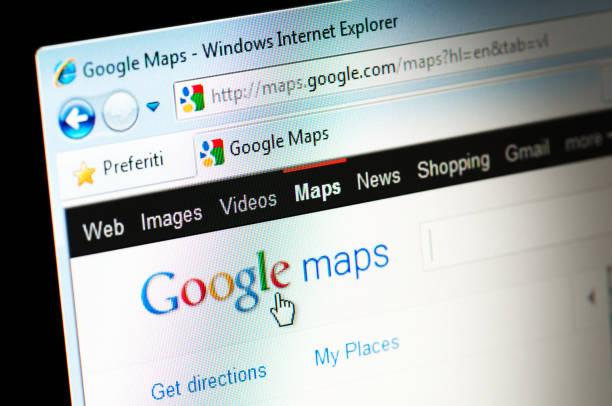 Google Maps Webpage on Computer Screen