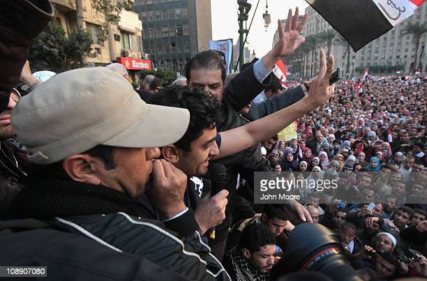 Google marketing executive Wael Ghonim greets thousands of antigovernment protesters in Tahrir Square on February 8 2011 in Cairo Egypt Ghonim was...