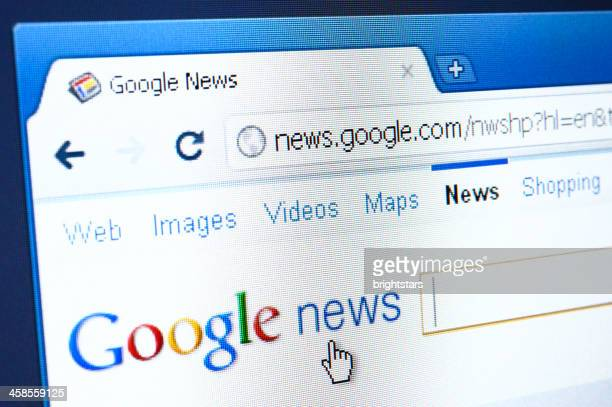 google news webpage on the browser - google stock photos and pictures