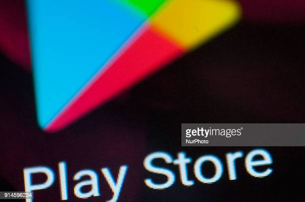 A Google Play Store logo is seen on an Android portable device on February 5 2018
