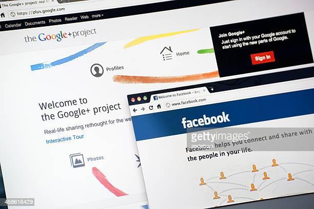 Google Plus y Facebook Página de inicio