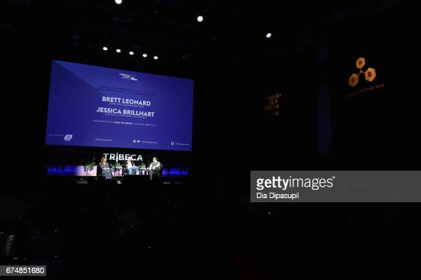 Google principal filmmaker for VR Jessica Brillhart director Brett Leonard and Alex Goldman speak onstage during a panel discussing the 25th...