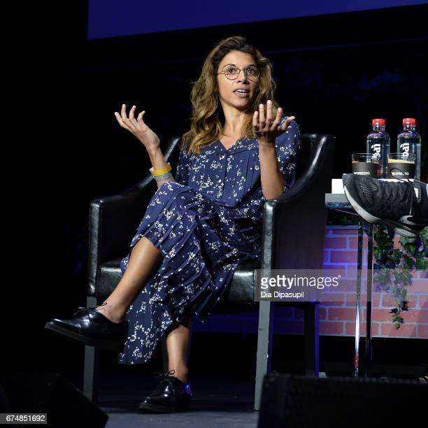 Google principal filmmaker for VR Jessica Brillhart speaks onstage during a panel discussing the 25th anniversary of 'The Lawnmower Man' at the...