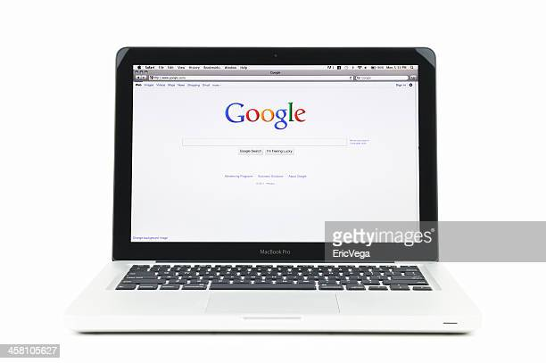 google search engine home page on macbook pro - google stock pictures, royalty-free photos & images