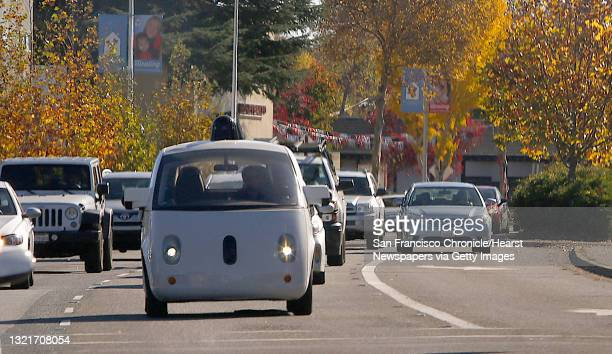Google self-driving car drives behind Delphi during a test drive on Thursday, December 1 in Mountain View, Calif. Delphi is one of the world's...