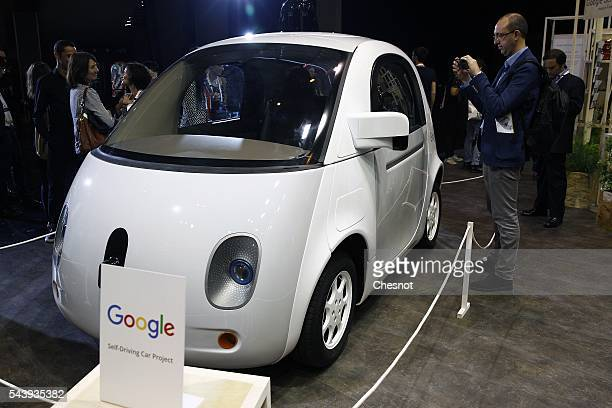Google selfdriving car project is displayed during the Viva Technology show on June 30 2016 in Paris France Viva Technology Startup Connect the new...