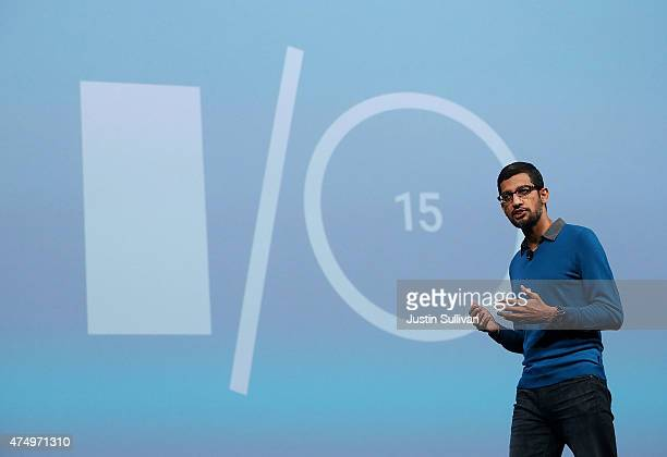 Google senior vice president of product Sundar Pichai delivers the keynote address during the 2015 Google I/O conference on May 28 2015 in San...