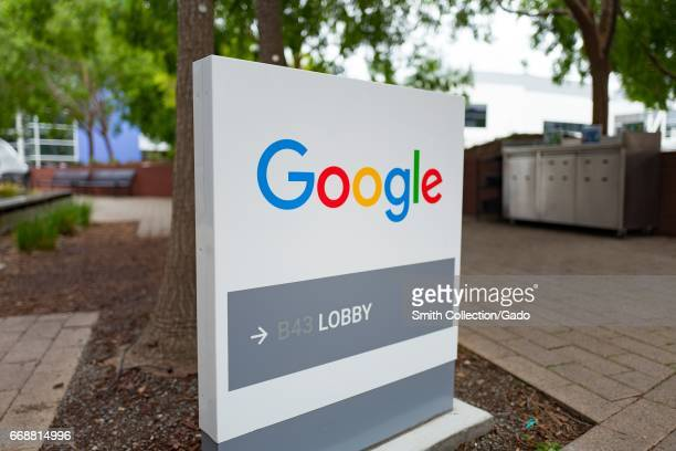 Google signage with logo at the Googleplex headquarters of Google Inc in the Silicon Valley town of Mountain View California April 7 2017